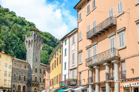 appennino: Porretta Terme, Bologna - Italy - colorful buildings and the Town Hall tower Stock Photo