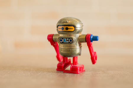 chorme: retro red toy robot Stock Photo