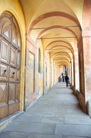 arcades: orange segmental arcades lead sanctuary San Luca bologna Emilia-Romagna  Italy