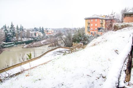 reno: Bologna, river Reno Casalecchio snowfall
