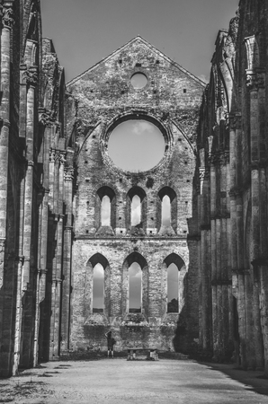 roofless: San Galgano roofless church black and white Stock Photo
