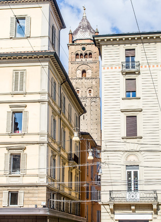 enzo: Bologna, Italy - San Pietro Cathedral bell tower, view from Piazza Re Enzo