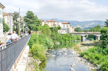 appennino: Porretta Terme - August 2, 2015 - Reno river bridge landscape italian