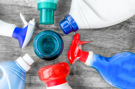 detergents, fabric softeners and liquid dosing ball scoop for washing clothes Banco de Imagens