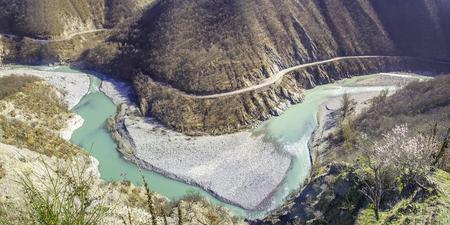 piacenza: inlet bend river meander Trebbia curve road winter - Brugnello Piacenza