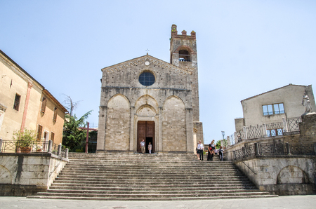 sant agata: Asciano, Siena - long large staircase Sant Agata Church