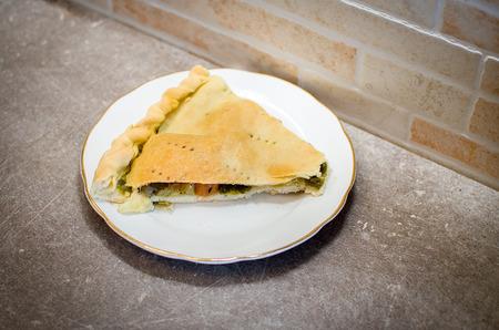 south italy: Cavicione traditional apulia Ischitella village of gargano recipe - south italy food Stock Photo