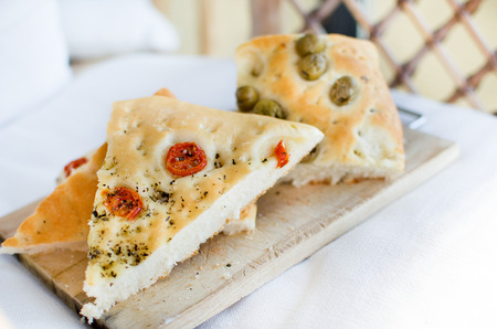 flatbread italy focaccia tomatoes olives flat oven baked Italian bread genovese ligure