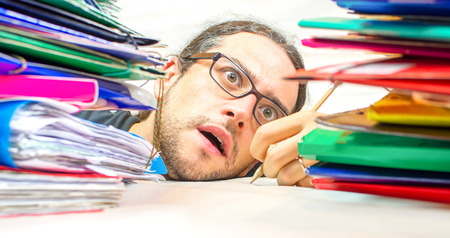 dowdy: exhausted employed office Stock Photo
