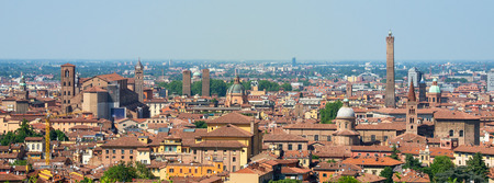 sightsee: Bologna aerial view sightsee tour Emilia Romagna scene. Stock Photo