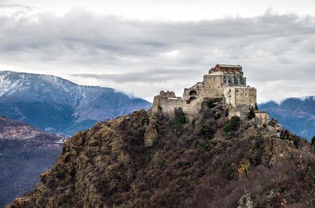 or san michele: Sacra di San Michele abbey - val susa  Avigliana - Turin - Piemonte Region italy