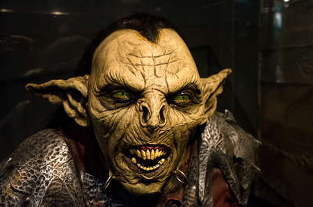 Turin, Italy, March 8 2013: reproduction a Moria goblin orc from the Lord of the Ring movie exhibited inside the National Museum of Cinema