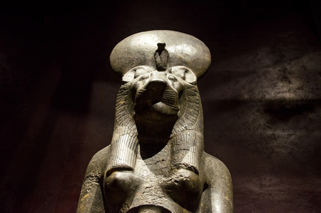 funerary: Turin, Italy, March 8 2013: Statue of the Anubi dog face god at the Egyptian Museum Editorial