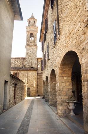 Bobbio emilia romagna village street bell tower italy Stock Photo