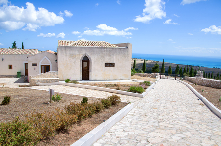 monte sant angelo: Foggia, Italy, August 17 2014:  white cottage overlooking the Adriatic Sea in Puglia