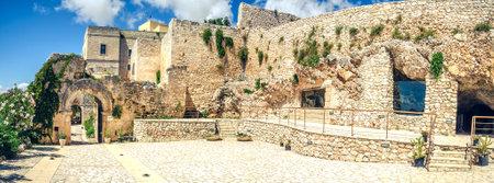 monte sant angelo: Foggia, Italy, 17 Agoust 2014 - Pulsano hermitage stone buildings  complex entrance