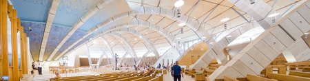 foggia: San Giovanni Rotondo, Italy, July 28 2016: The interior of the big moden church dedicated to Saint Padre Pio designed from the famous architect Renzo Piano