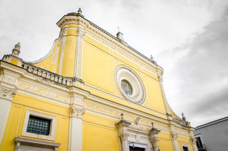 baroque architecture: San Severo yellow cathedral church foggia province baroque architecture in Apulia, Gargano Stock Photo
