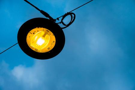 penumbra: lamppost public lighting night Stock Photo