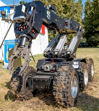 defuse: Ferrara, Italy 16 September 2016 - a  bomb disposal robot unit used by the Army to  defuse bombs Editorial