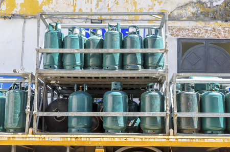 Gas cylinders transport  and storage Stock Photo