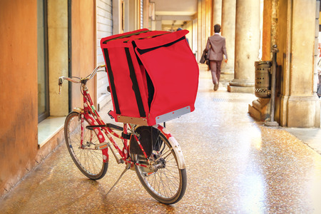 bicycle delivery red box bike