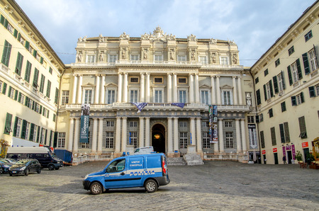 ducale: Genoa, Italy, December 2 2013: police car parked in front of the Palazzo Ducale of Genova.