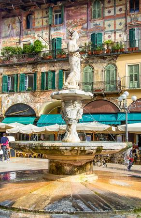 the Madonna Verona fountain in Piazza delle Erbe square in the Verona city centre, Veneto region, Italy Stock Photo
