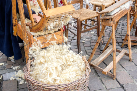carding: hand carder wood carding cotton Stock Photo
