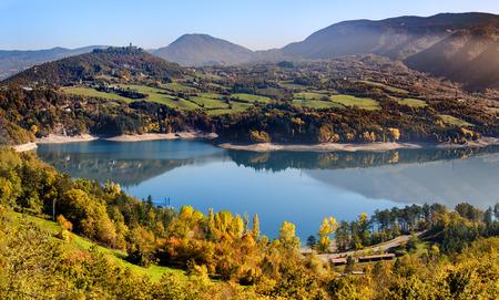 Suviana lake autumn Bologna Emilia Romagna Italy