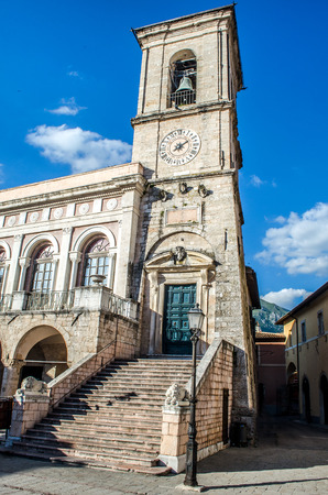 norcia: Norcia bell tower Palazzo Comunale Umbria Perugia Italy Stock Photo