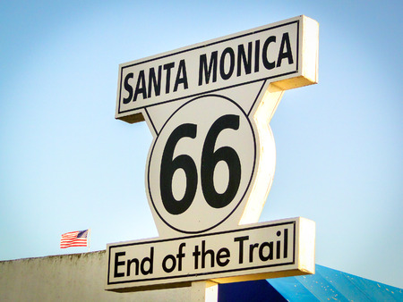 end of the trail: Santa Monica Route 66 End of the Trail sign California Los Angeles landmark vintage vignette