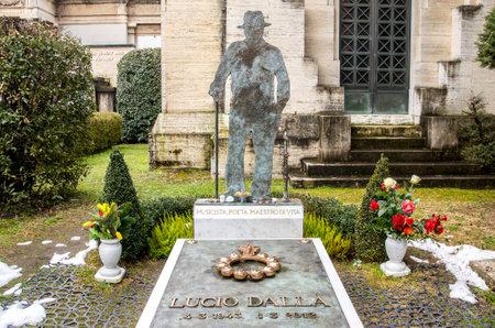 Bologna, Italy, Feb 15 2015: The tomb of the famous italian singer Lucio Dalla in the monumental cemetery Certosa of Bologna Editorial