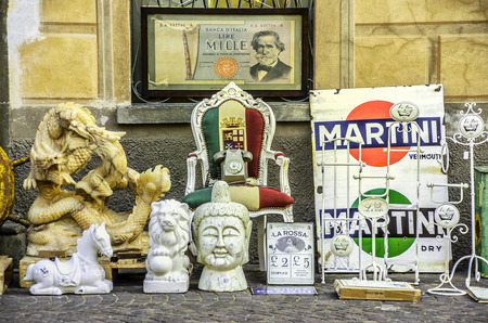 Modena, Italy 16 Feb 2013 - various italian antiques objects on the street Editorial