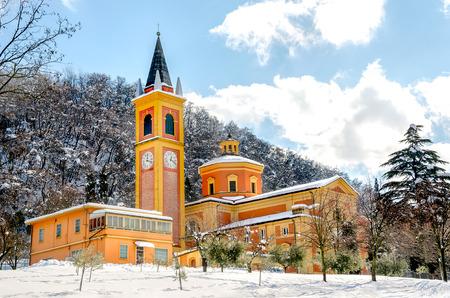 reno: church snow covered colorful orange yellow