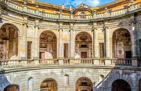 Caprarola, Italy 21 Apr 2013 - circular courtyard of Villa Farnese, the mannerist  palace in Lazio
