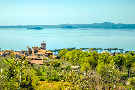 lazio: castle lake aerial lazio landscape bolsena