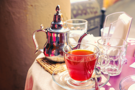 red herbal tea table bar Stock Photo