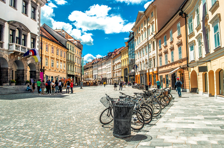 colorful street Ljubljana summer Lubiana buildings clean urban area care Foto de archivo