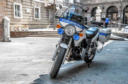 a white police motorcycle: Rome, Italy, 14 Jul 2013 - police bike supplied to the italian Polizia Municipale officers