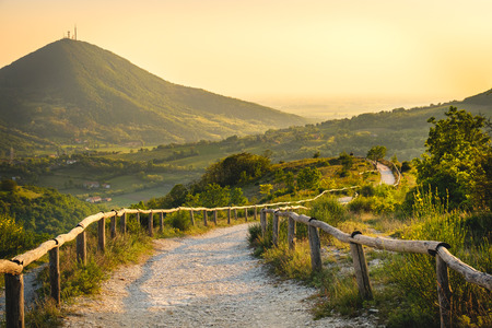 Euganean Hlls yellow sunset Pianoro del Mottolone trail Padua Italy Veneto region