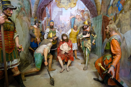 flagellation: Varallo, Italy, May 24 2017 - biblical scene representation of Jesus Christ crowned with thorns  and scourging during his flagellation