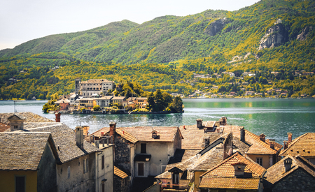 orta: Italy lake orta Novara province Piedmont region antique effect Stock Photo