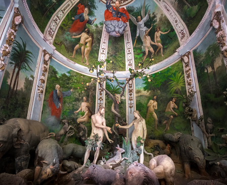 Sacro Monte di Varallo, Piedmont, Italy, May 24 2017 - biblical scene representation of Adam and Eve in the Eden