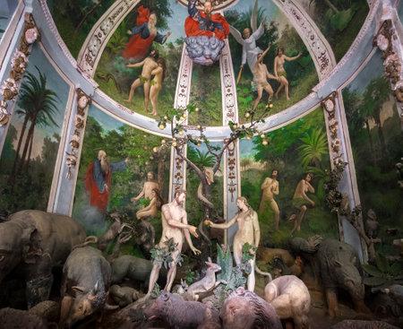 Sacro Monte di Varallo, Piedmont, Italy, May 24 2017 - biblical scene representation of Adam and Eve in the Eden
