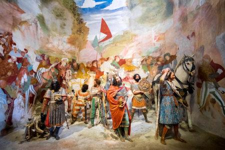 presepe: Sacro Monte di Varallo, Piedmont, Italy, May 24 2017 - biblical scene representation of the three Magi in Bethlehem Editorial