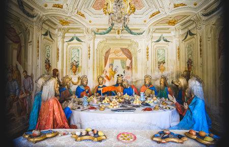 presepe: biblical scene representation (presepe)  of the Last Supper of Jesus Christ (Sacro Monte di Varallo, Piedmont, Italy, May 24 2017)
