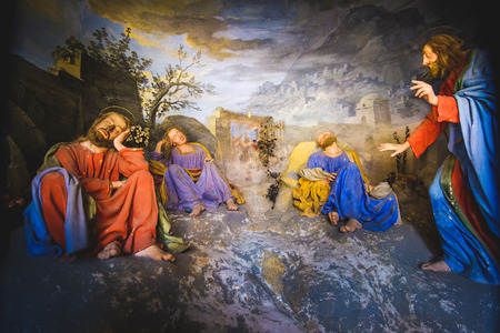 biblical scene representation (presepe)  of Jesus Christ awakens the sleeping disciples(Sacro Monte di Varallo, Piedmont, Italy, May 24 2017)