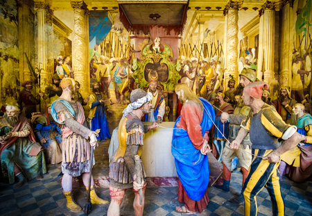 biblical figures representation (presepe)  of the Sanhedrin trial of Jesus at the Caiaphas tribunal (Sacro Monte di Varallo, Piedmont, Italy, May 24 2017)