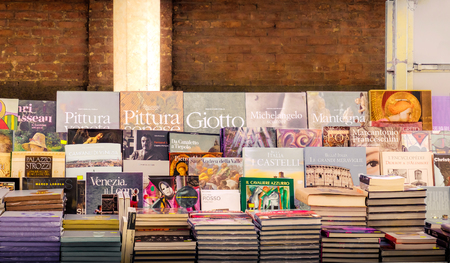 italian art books on a market stall in Rome, Italy,24 Apr 2017